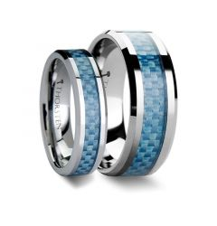 Matching Ring Set Blue Carbon Fiber Inlay Tungsten Carbide Band - 6mm & 8mm