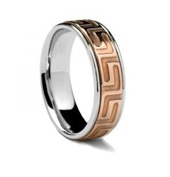 Rose Gold Centered Ring with Greek Key Deisgn by Sossi - 7mm