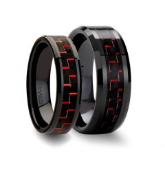 Matching Ring Set Beveled Black Ceramic Ring with Black & Red Carbon Fiber - 6mm& 8mm