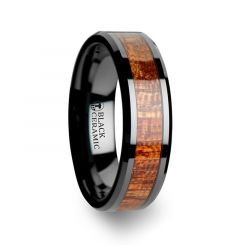 GABON Black Ceramic Band with Polished Bevels and Exotic Mahogany Hard Wood Inlay - 4mm - 10mm