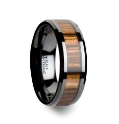ZEBRANO Black Ceramic Ring with Beveled Edges and Real Zebra Wood Inlay - 4mm - 10mm
