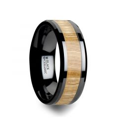 BILTMORE Black Ceramic Ring with Polished Bevels and Ash Wood Inlay - 6mm - 10mm