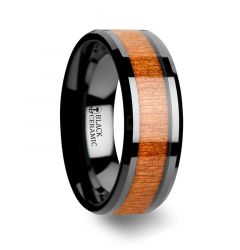 IOWA Black Ceramic Wedding Ring with Polished Bevels and Black Cherry Wood Inlay - 6mm - 10mm