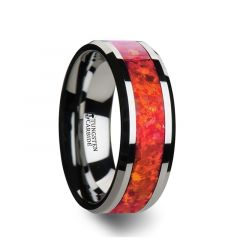 NEBULA Tungsten Wedding Band with Beveled Edges and Red Opal Inlay - 4mm - 8mm