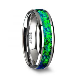 PHOTON Tungsten Beveled Wedding Band with Emerald Green & Sapphire Blue Color Opal Inlay - 6mm & 8mm