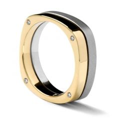 Square Two-Tone Gold Ring with Diamonds by Sossi - 7mm