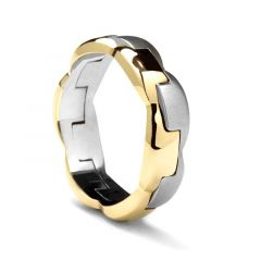 White Gold & Yellow Gold Ring by Sossi - 7 mm