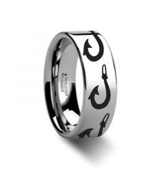 Large Polynesian Fishing Hook Pattern Ring Engraved Flat Tungsten Ring - 4mm - 12mm