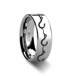 Multiple Fishing Hook Pattern Ring Engraved Flat Tungsten Ring - 4mm - 12mm