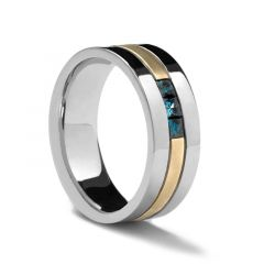 Dual Grooved Flat Two-Toned Gold Ring by Sossi - 7mm