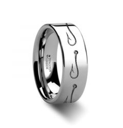 Simple Artistic Fishing Hook Pattern Ring Engraved Flat Tungsten Ring - 4mm - 12mm