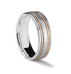 Flat White Gold Ring with Dual Rose Gold Inlay by Sossi - 7mm