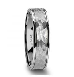 THORNTON Hammered Finish Center White Tungsten Carbide Wedding Band with Dual Offset Grooves and Polished Edges - 6mm & 8mm
