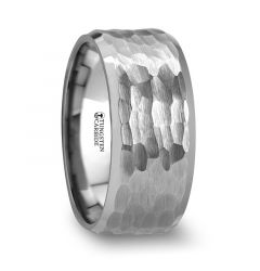 MARTEL White Tungsten Ring with Hammered Finish and Polished Bevels - 10mm