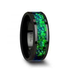 PULSAR Black Ceramic Wedding Band with Beveled Edges and Emerald Green & Sapphire Blue Color Opal Inlay - 6mm or 8 mm