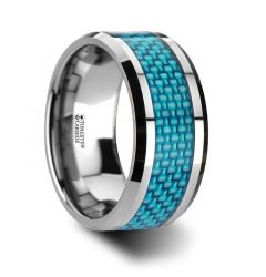 AUGUSTUS Extra Wide Tungsten Carbide Ring with Light Blue Carbon fiber Inlay - 10 mm