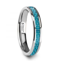 AUGUSTINE Womens Tungsten Ring with Light Blue Carbon Fiber Inlay - 4 mm