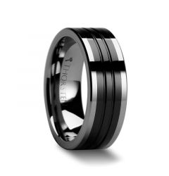 EDINBURGH Tungsten Ring with Flat Grooved Black Ceramic Inlay - 6mm - 10mm
