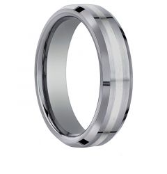 NEW YORK Benchmark 18k White Gold Inlaid Beveled Polished Tungsten Ring