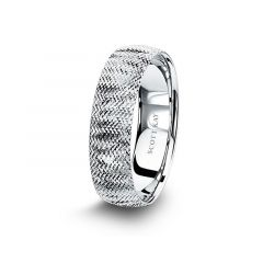 14kt White Gold Mens Wedding Band From the Classic Collection by Scott Kay - 6 mm