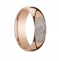 10k Fingerprint Ring Rose Gold Engraved Domed Band - 4mm - 8mm