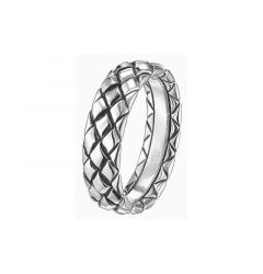 14kt White Gold Diamond Stitched Mens Wedding Band From the Weave Collection by Scott Kay - 5 mm