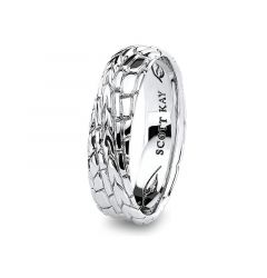 14kt White Gold Gator Design with Vintage Finish Wedding Band for Men From the Gator Collection by Scott Kay - 6 mm