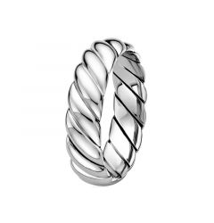 14kt White Gold Polished Spiral Mens Wedding Band from the Rope Collection by Scott Kay - 6 mm