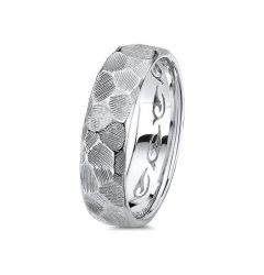 14kt White Gold Carved Hammered Mens Wedding Band From the Classic Collection by Scott Kay - 6 mm