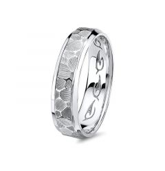 14kt White Gold Carved Hammered Beveled Edged Wedding Band for Men from the Classic Collection by Scott Kay - 6 mm