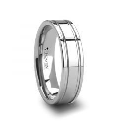 ANCHORAGE Dual Offset Grooves Mens Tungsten Carbide Wedding Ring - 6mm & 8mm