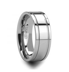 ANCHORAGE Men's Tungsten Wedding Band with Dual Offset Grooves - 6mm or 8mm