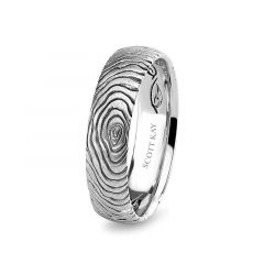 14kt White Gold Circular Grooved Mens Wedding Band From the Core Collection by Scott Kay - 5 mm