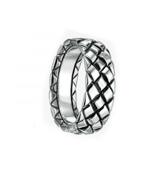14kt White Gold Diamond Stitched Wedding Band for Men From the Weave Collection by Scott Kay - 7 mm