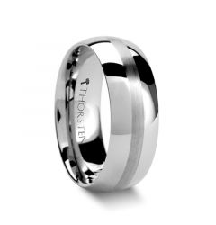 BELLATOR Domed with Brushed Stripe Tungsten Wedding Ring - 4mm - 12mm