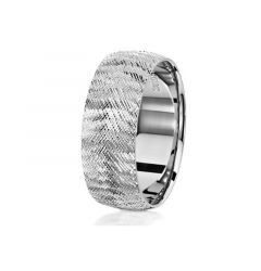 14kt White Gold Textured Pattern Mens Wedding Band From the Classic Collection by Scott Kay - 8 mm