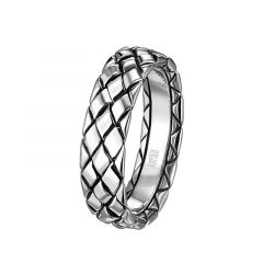 14kt White Gold Diamond Stitched Mens Wedding Band From the Weave Collection by Scott Kay - 7 mm