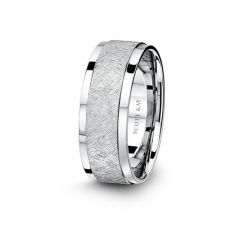 14kt White Gold Wire Brushed Design Mens Wedding Band From the Classic Collection by Scott Kay - 8 mm