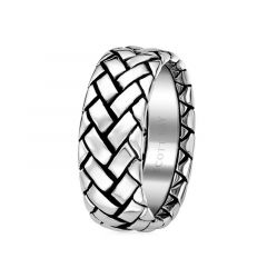 14kt White Gold Weave Design Mens Wedding Band by Scott Kay - 6 mm