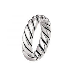 14kt White Gold Grooved Spiral Mens Wedding Band From the Rope Collection by Scott Kay - 6 mm