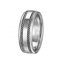 14kt White Gold Flat Milgrain Inlay Mens Wedding Band From the Rope Collection by Scott Kay - 6 mm