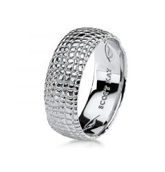 14kt White Gold Gator Design Mens Wedding Band From the Classic Collection by Scott Kay - 8 mm