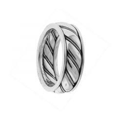14kt White Gold Mens Peppermint Wedding Band From the Gothic Collection by Scott Kay - 6 mm