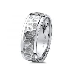 14kt White Gold Carved Hammered Raised Center Mens Wedding Band from the Classic Collection by Scott Kay - 8 mm