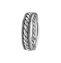 14kt White Gold Spiral Design Mens Wedding Band From the Rope Collection by Scott Kay - 6 mm