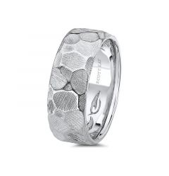 14kt White Gold Carved Hammered Mens Wedding Band From the Classic Collection by Scott Kay - 8 mm
