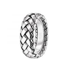 14kt White Gold Braided Design Mens Wedding Band From the Equestrian Collection by Scott Kay - 8 mm
