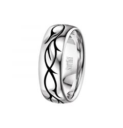 14kt White Gold Single Vine Design Mens Wedding Band From the Sparta Collection by Scott Kay - 8 mm