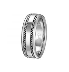 14kt White Gold Flat Milgrain Inlay Mens Wedding Band From the Rope Collection by Scott Kay - 8 mm