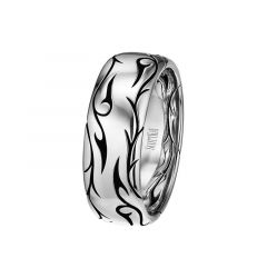 14kt White Gold Mens Wedding Band From the Sparta Collection by Scott Kay - 8 mm